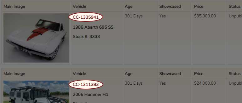 ClassicCars.com Item Number can be found in your account page of your listings.