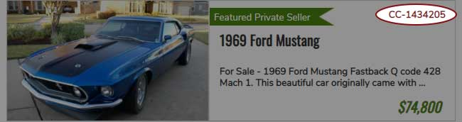 ClassicCars.com Item Number can be found in the Search Results page items.